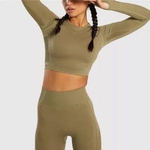 Olive Set Leggings + Long Sleeve Crop Top